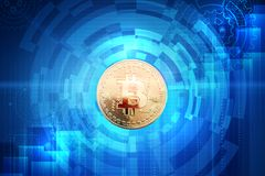 Gold coin of bitcoin on an abstract background. Royalty Free Stock Photography