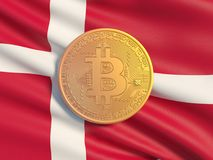Gold coin Bitcoin against the background flag of Danmark. Symbolic image of virtual currency. stock illustration