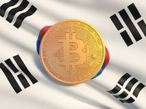 Gold coin Bitcoin against the background flag of South Korea. Symbolic image of virtual currency. vector illustration