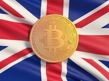 Gold coin Bitcoin against the background flag of United Kingdom. Symbolic image of virtual currency. royalty free stock image