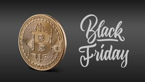 Gold coin bitcoin, calligraphic inscription black Friday. Gold coin bitcoin on a black background, calligraphic text is black Friday. The concept of the fall of stock photography