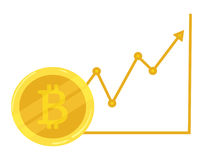 Gold coin bitcoin. Course going up. Crypto currency. Graphic growth bitcoin. Mining of electronic currency. Vector icon Stock Images