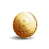 Gold coin bitcoin. Crypto currency. Gold coin with bitcoin sign isolated on white background. Banking vector illustration Royalty Free Stock Photos