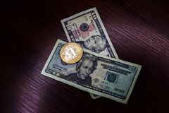 Large gold coin bitcoin and dollars. Gold coin bitcoin next to the bills of American dollars Royalty Free Stock Photos