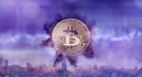 Bitcoin with a purple powder splash on a blurred background of the ultraviolet city. Gold coin bitcoin with a purple powder splash on a blurred background of the royalty free stock image
