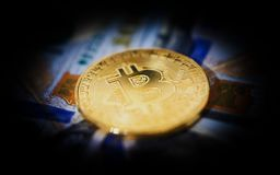 Gold coin bitcoin symbol crypto currency. royalty free stock image