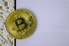 Gold coin bitcoin on white background close-up. Gold coin bitcoin on white background, close-up Stock Photos