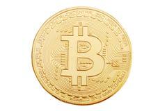 Gold coin of bitcoin on a white background. Stock Photos