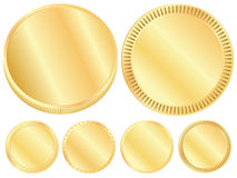 Gold coin blank set Royalty Free Stock Photo