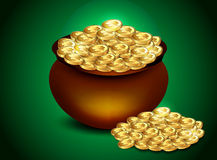 Gold coin in bowl Royalty Free Stock Photography