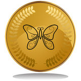 Gold Coin - Butterfly Royalty Free Stock Image
