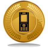 Gold Coin - Cell Phone Stock Images