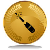 Gold Coin - Champage Bottle Royalty Free Stock Photos