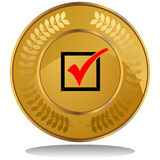Gold Coin - Check Mark royalty free illustration