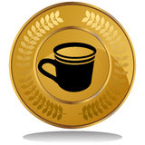 Gold Coin - Coffee Cup Stock Photography