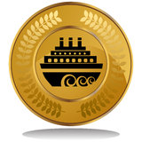 Gold Coin - Cruise Ship. 3D image of a gold coin with laurel wreath - cruise ship Royalty Free Stock Photos