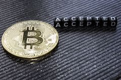 Gold coin cryptocurrency bitcoin and accepted stock image