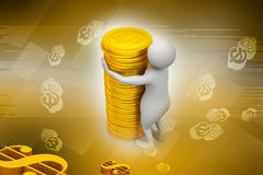 Gold coin with 3d person Royalty Free Stock Image