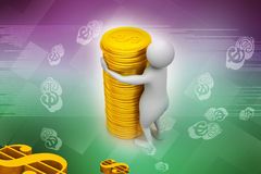 Gold coin with 3d person Stock Images