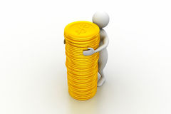 Gold coin with 3d person Royalty Free Stock Photography