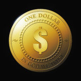 Gold coin. 3D render illustration of the fictitious coin of one dollar on black background vector illustration