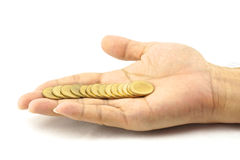 Gold coin direct line on hand. Gold coin put like direct line on hand, mean money coming in your hand Stock Image