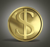 Gold coin with dollar sign 3d illustration on a gradient backgro Stock Photography