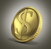 Gold coin with dollar sign 3d render on a gradient background Royalty Free Stock Photos