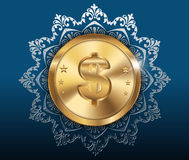 Gold coin with dollar sign with pattern background Royalty Free Stock Images