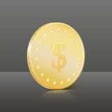 Gold coin with dollar sign. Vector illustration Stock Images