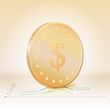 Gold coin with dollar sign. Vector illustration Royalty Free Stock Photo