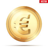 Gold coin with euro sign. Stock Photo