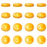 Gold Coin, Four Monetary Unit Vector Royalty Free Stock Photography