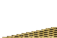 Gold Coin Frame Corner in a Stacked Pattern Royalty Free Stock Images