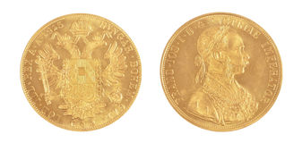 Gold coin FRANC IOS -Austrian emperor Royalty Free Stock Image