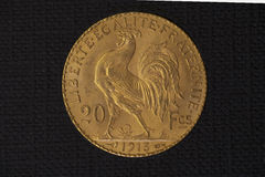 Gold coin from France Stock Image
