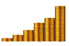 Gold Coin Graph. Stock Photo