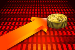 gold coin and graph Stock Photo