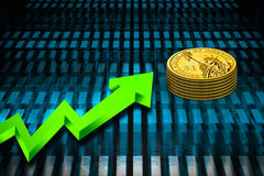 Gold coin and graph Royalty Free Stock Photos