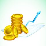 Gold Coin on Graph Paper. Illustration of gold coin on graph paper with increasing arrow Royalty Free Stock Photos