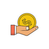 Gold coin in hand businessman icon Stock Photography