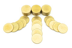 Gold coin heading to pile of money. Mean money coming in all directions Stock Image