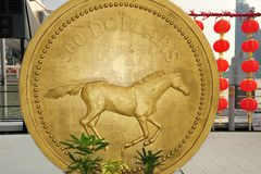 Gold coin of horse Stock Photography