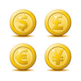 Gold Coin Icons. A set of gold coin icons in four different currencies stock illustration