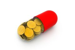 Gold coin inside the capsule Royalty Free Stock Photography