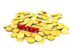 Gold coin with investment concept Royalty Free Stock Photography