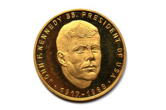 Gold coin of John Fitzgerald Kennedy Royalty Free Stock Photos