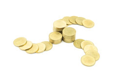 Gold coin like cyclone. Gold coin put like cyclone, center is pile of money, mean center of the rich Royalty Free Stock Photo