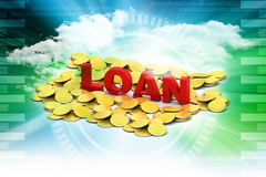 Gold coin with loan concept Stock Image