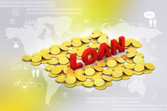 Gold coin with loan concept Stock Photo